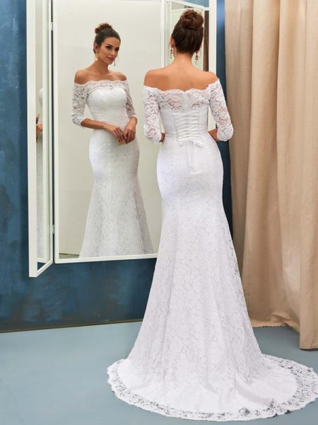 Trumpet/Mermaid 1/2 Sleeves Lace Sweep/Brush Train Off-the-Shoulder Wedding Dresses