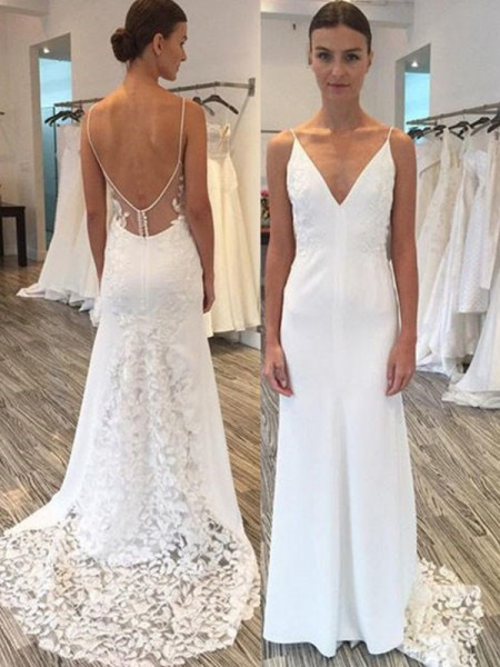 Sheath/Column Sleeveless Satin Lace Spaghetti Straps Sweep/Brush Train Wedding Dresses
