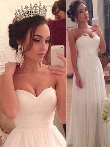 A-Line/Princess Sleeveless Chiffon Sweetheart Ruffles Floor-Length Wedding Dresses