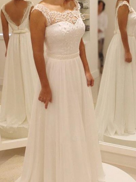A-Line/Princess Sleeveless Bowknot Lace Scoop Sweep/Brush Train Chiffon Wedding Dresses
