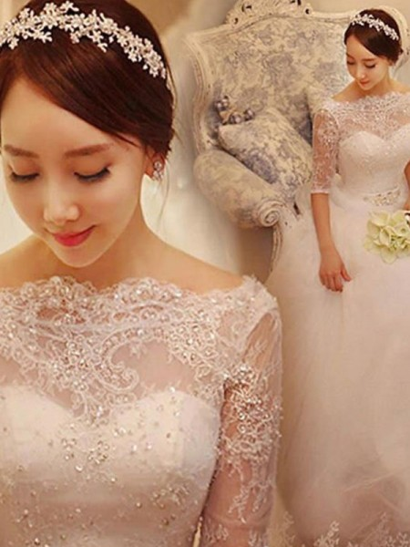 Ball Gown Beading Tulle Off-the-Shoulder 1/2 Sleeves Chapel Train Wedding Dresses