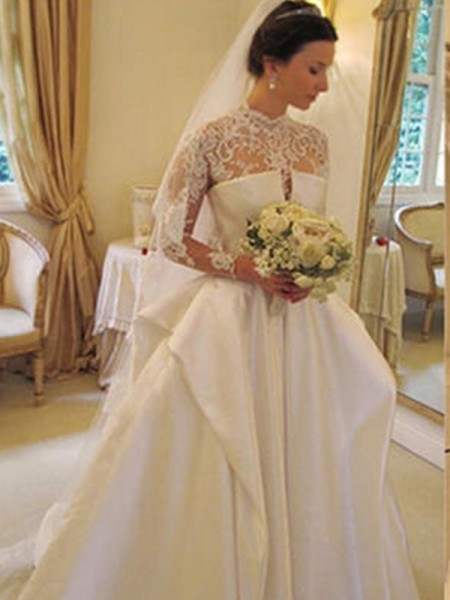 Ball Gown Satin Long Sleeves High Neck Chapel Train Lace Wedding Dresses