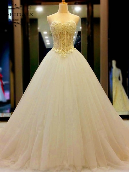 Ball Gown Sweetheart Tulle Court Train Sleeveless Wedding Dresses With Beading