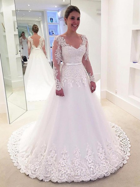 A-Line/Princess Applique Lace V-neck Long Sleeves Tulle Sweep/Brush Train Wedding Dresses