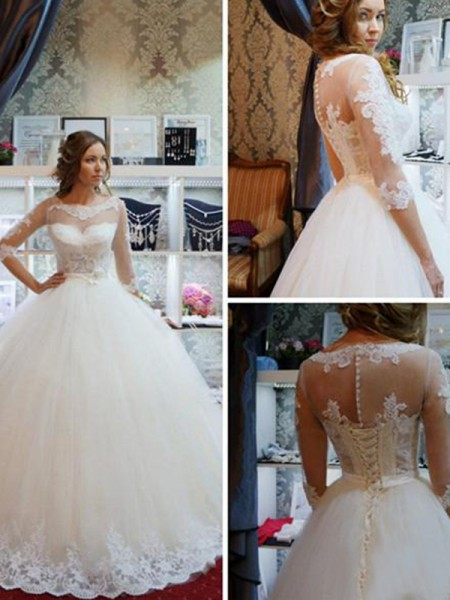 Ball Gown 1/2 Sleeves Tulle Scoop Applique Floor-Length Wedding Dresses