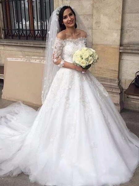 Ball Gown Tulle Applique 3/4 Sleeves Chapel Train Off-the-Shoulder Wedding Dresses