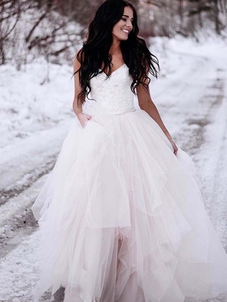 A-Line/Princess V-neck Ruched Tulle Floor-Length Sleeveless Wedding Dresses