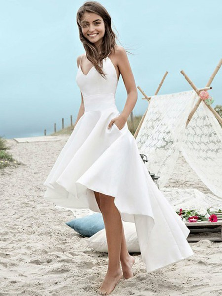 A-Line/Princess Sleeveless Satin Ruched Spaghetti Straps Asymmetrical Wedding Dresses
