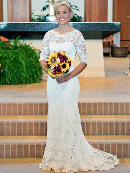 Sheath/Column Ruched Scoop 1/2 Sleeves Sweep/Brush Train Wedding Dresses With Lace