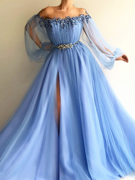 A-Line/Princess Tulle Long Sleeves Off-the-Shoulder Floor-Length Dresses