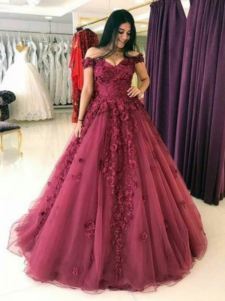 Ball Gown Tulle Sleeveless Off-the-Shoulder Sweep/Brush Train Dresses