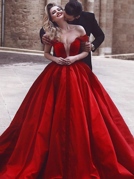 Ball Gown Satin Sleeveless Off-the-Shoulder Sweep/Brush Train Dresses