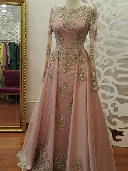 A-Line/Princess Tulle Long Sleeves Scoop Floor-Length Dresses