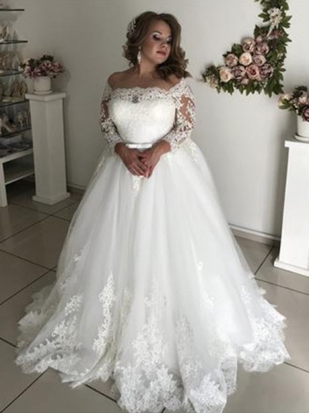 A-Line/Princess Lace Long Sleeves Tulle Off-the-Shoulder Sweep/Brush Train Wedding Dresses