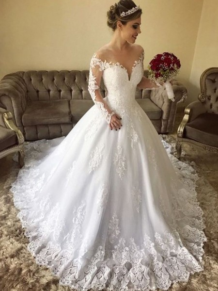 Ball Gown Lace Long Sleeves Tulle Off-the-Shoulder Sweep/Brush Train Wedding Dresses