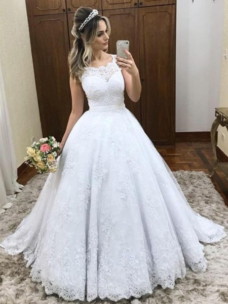 Ball Gown Lace Sleeveless Satin Scoop Sweep/Brush Train Wedding Dresses