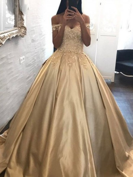 Ball Gown Applique Sleeveless Satin Off-the-Shoulder Sweep/Brush Train Dresses