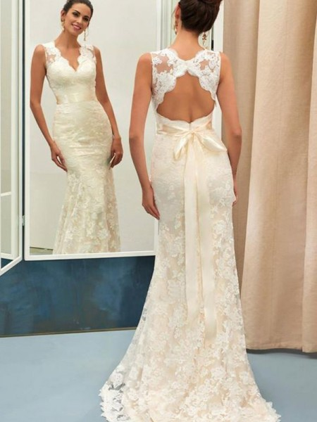 Trumpet/Mermaid Sash/Ribbon/Belt Sweep/Brush Train V-neck Sleeveless Lace Wedding Dresses