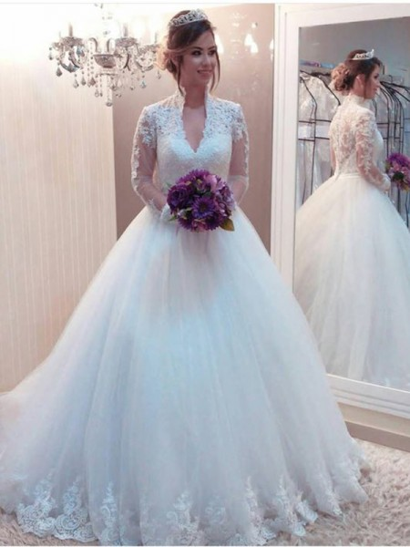 Ball Gown Applique Sweep/Brush Train High Neck Long Sleeves Tulle Wedding Dresses