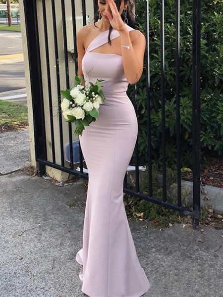 Sheath/Column Floor-Length One-Shoulder Sleeveless Spandex Bridesmaid Dresses