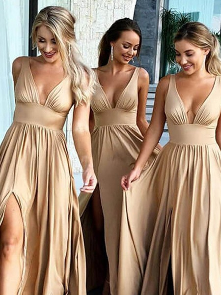 A-Line/Princess Ruffles Sweep/Brush Train V-neck Sleeveless Silk like Satin Bridesmaid Dresses