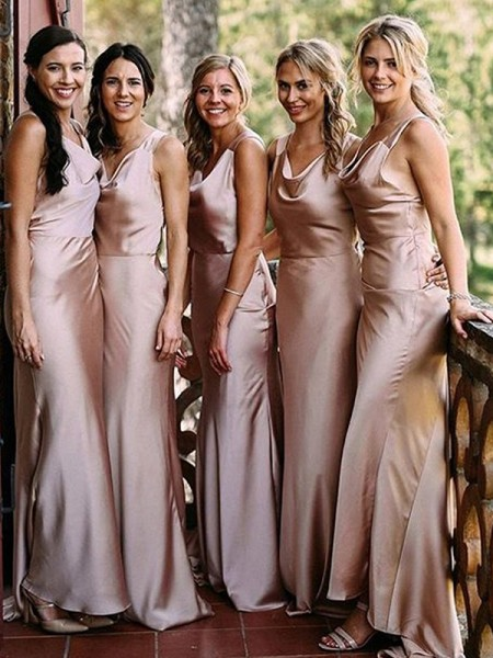 Sheath/Column Floor-Length V-neck Sleeveless Silk like Satin Bridesmaid Dresses
