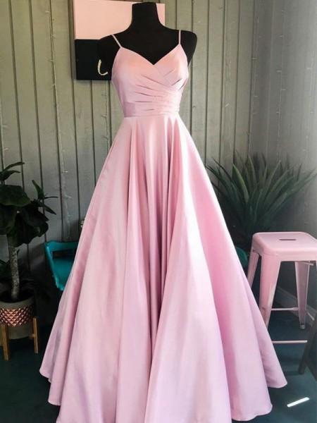 A-Line/Princess Sleeveless Satin Spaghetti Straps Floor-Length Ruched Dresses