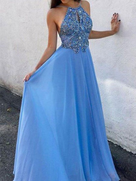 A-Line/Princess Sleeveless Chiffon Halter Floor-Length Beading Dresses