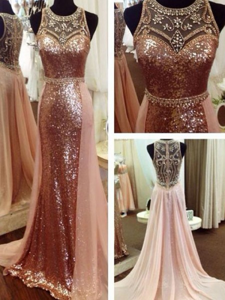 A-Line/Princess Sleeveless Sequins Scoop Sweep/Brush Train Beading Dresses