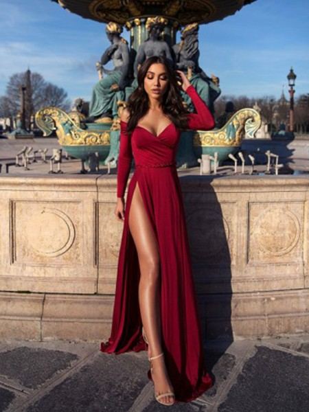 A-Line/Princess Long Sleeves Elastic Woven Satin Off-the-Shoulder Sweep/Brush Train Ruched Dresses