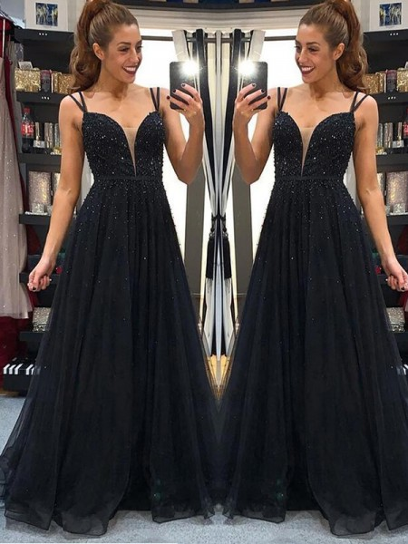 A-Line/Princess Sleeveless Tulle Spaghetti Straps Floor-Length Beading Dresses