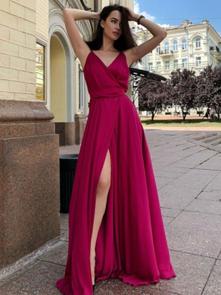 A-Line/Princess Sleeveless Satin Chiffon Spaghetti Straps Sweep/Brush Train Ruffles Dresses