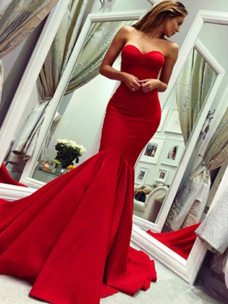 Trumpet/Mermaid Sleeveless Satin Strapless Court Train Ruffles Dresses