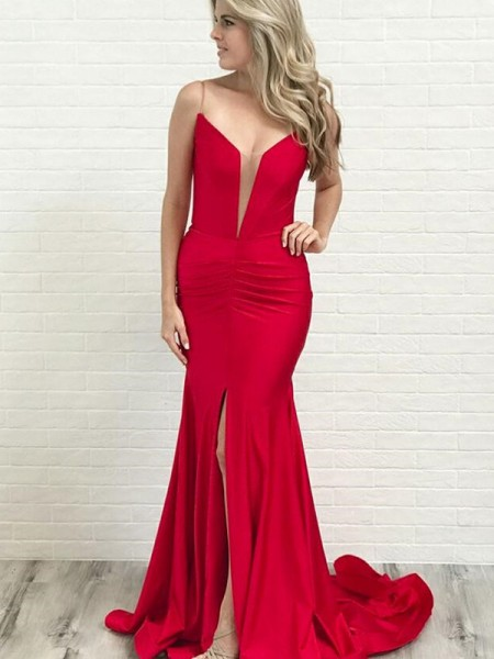 A-Line/Princess Sleeveless Satin Spaghetti Straps Court Train Ruched Dresses