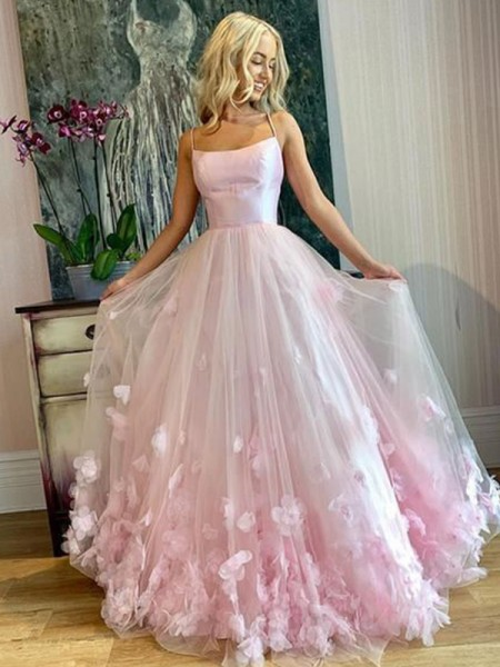 A-Line/Princess Sleeveless Tulle Bateau Floor-Length Applique Dresses