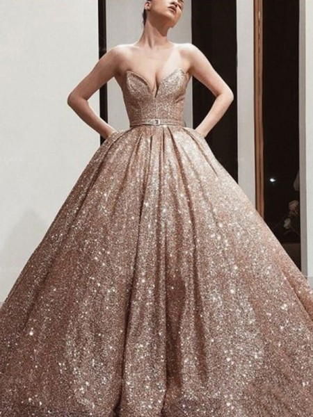 Ball Gown Sleeveless Sequins Sweetheart Floor-Length Sash/Ribbon/Belt Dresses