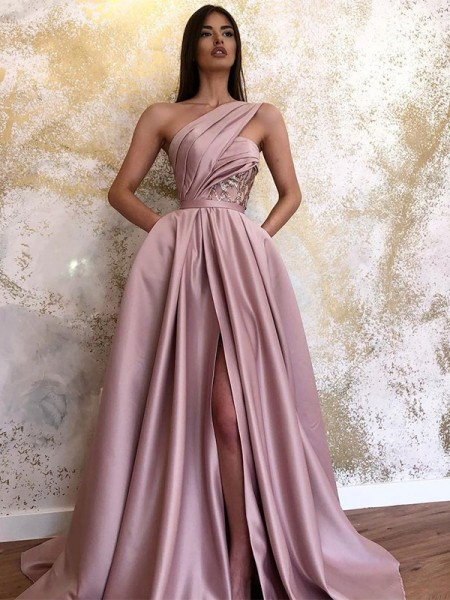 A-Line/Princess Sleeveless Satin One-Shoulder Sweep/Brush Train Ruched Dresses