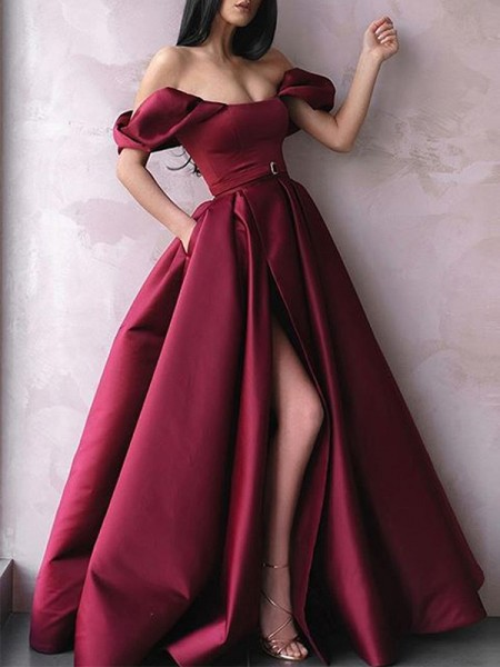 A-Line/Princess Sleeveless Satin Off-the-Shoulder Floor-Length Sash/Ribbon/Belt Dresses