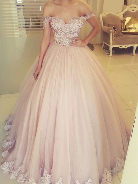 Ball Gown Sleeveless Tulle Off-the-Shoulder Floor-Length Applique Dresses