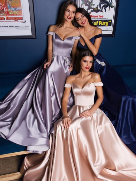 A-Line/Princess Sleeveless Satin Off-the-Shoulder Sweep/Brush Train Ruffles Dresses