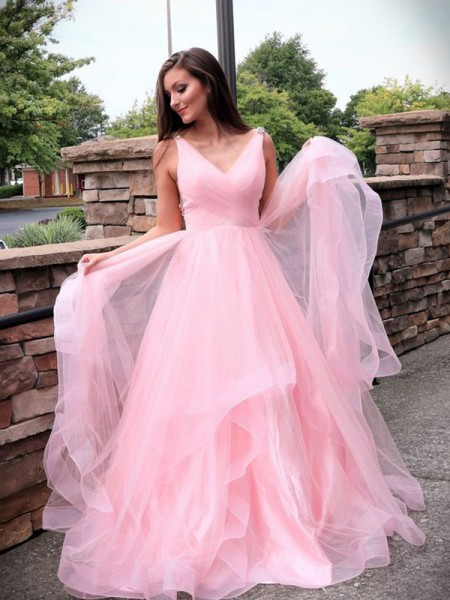 A-Line/Princess Sleeveless Tulle V-neck Sweep/Brush Train Ruched Dresses
