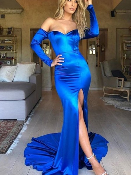 Trumpet/Mermaid Long Sleeves Elastic Woven Satin V-neck Court Train Ruched Dresses