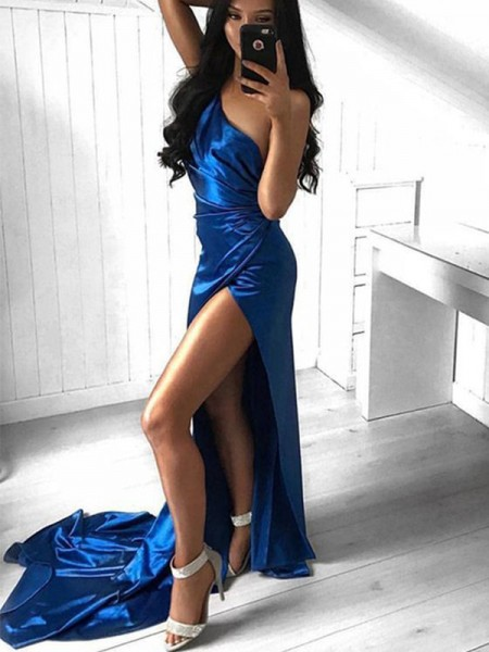 Sheath/Column Sleeveless Satin One-Shoulder Court Train Ruched Dresses