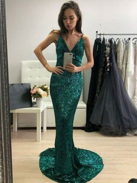 Trumpet/Mermaid Sleeveless Sequins Sweep/Brush Train V-neck Ruffles Dresses