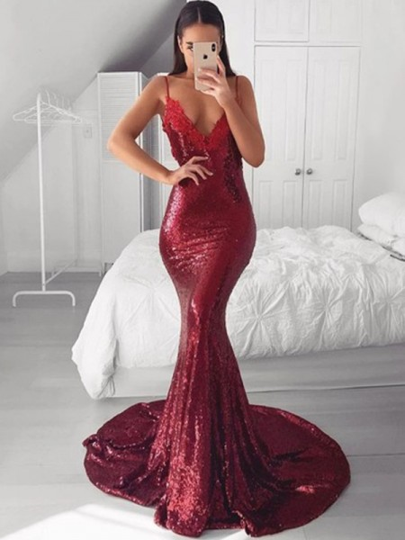 Trumpet/Mermaid Sleeveless Sequins V-neck Applique Sweep/Brush Train Dresses