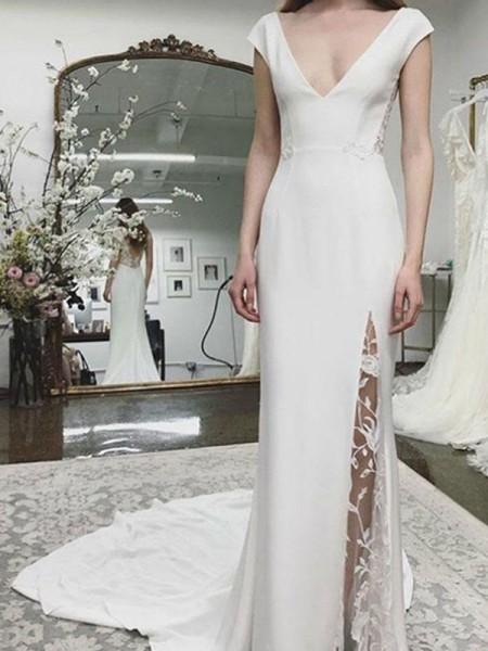 Sheath/Column Satin Court Train Lace V-neck Sleeveless Wedding Dresses