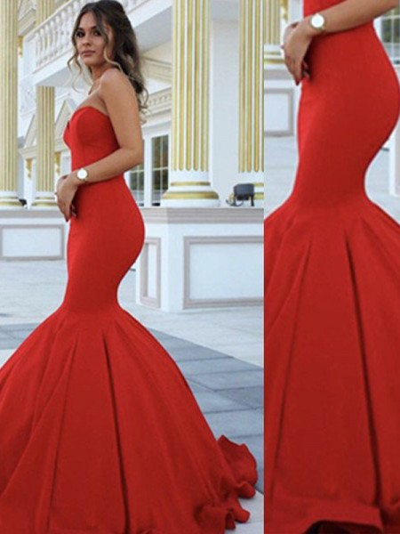 Trumpet/Mermaid Sweetheart Sleeveless Sweep/Brush Train Satin Evening Dress