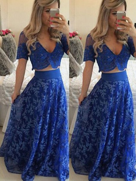 A-Line/Princess V-neck Floor-Length Lace Two Piece Dress