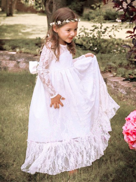 A-Line/Princess Long Sleeves Jewel Lace Floor-Length Bowknot Flower Girl Dresses