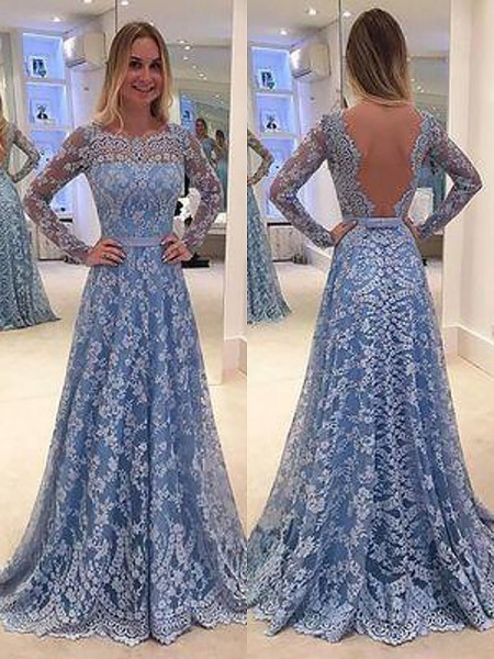 A-Line/Princess Bateau Floor-Length Lace Long Sleeves Ruffles Dresses